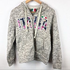 Gray Italia Floral Zip Up Sweater XS